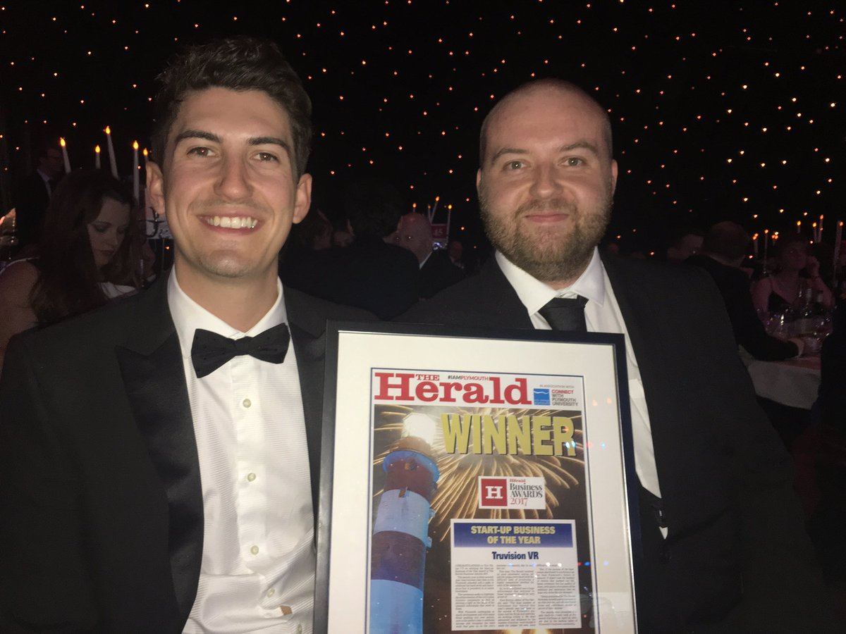 TruVision's Connor and Gary with their Start-up Business of the Year Award at the Plymouth Herald Business Awards 2017